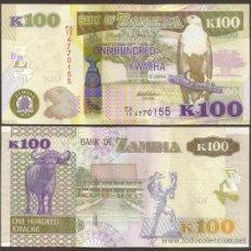 Billetes extranjeros: ZAMBIA. 100 KWACHA 2012. S/C. PICK 54 A. FAUNA. BUFALO. MAXIMO VALOR.. Lote 255606895