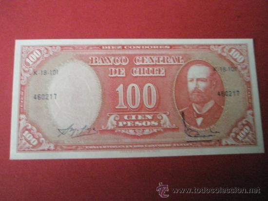 BILLETE DE CHILE-100 PESOS-1960?-NO DATADO--PLANCHA (Numismática - Notafilia - Billetes Extranjeros)