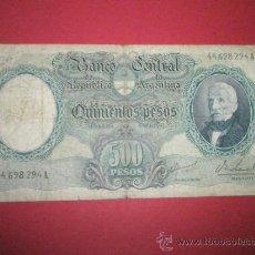 Billetes extranjeros: BILLETE DE R.ARGENTINA-500 PESOS-1960-CIRCULADO-.. Lote 37017083