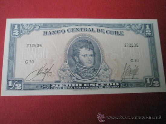 BILLETE DE CHILE-MEDIO ESCUDO-50 CENTESIMOS-PLANCHA. (Numismática - Notafilia - Billetes Extranjeros)