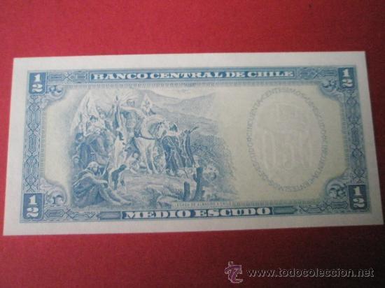 Billetes extranjeros: BILLETE DE CHILE-MEDIO ESCUDO-50 CENTESIMOS-PLANCHA. - Foto 2 - 37509309