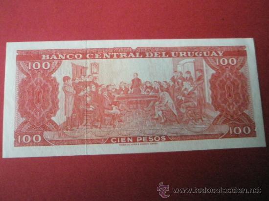 Billetes extranjeros: BILLETE DE URUGUAY-100 PESOS-SIN SERIE-NO DATADO-PLANCHA. - Foto 2 - 35920542