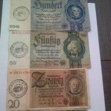 Billetes extranjeros: 4 BILLETES DEL TERCER REICH CON EL MATASELLOS DE LA TOTENKOPF. Lote 52724503