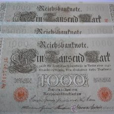 Billetes extranjeros: 3 BILLETES SEGUIDOS DE 1000 MARK DE 1910. ALEMANIA. Lote 36829637