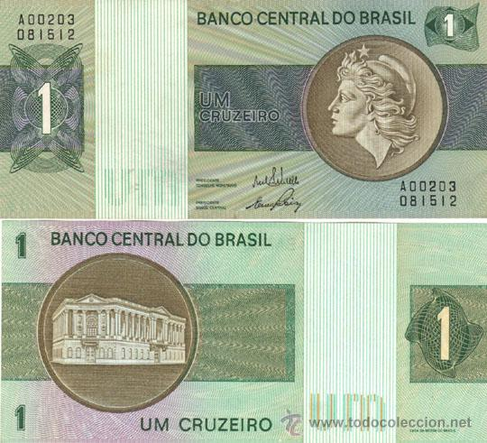 BRASIL 1 CRUCEIRO 1970-72 P.191 SIN CIRCULAR. MEDALLON MARRON. (Numismática - Notafilia - Billetes Extranjeros)