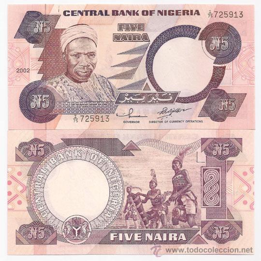NIGERIA 5 NAIRA DE 2002 P.24 SIN CIRCULAR. PAPEL. (Numismática - Notafilia - Billetes Extranjeros)