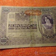 Billetes extranjeros: 10000 CORONAS , GRAN BILLETE 1918 HUNGRIA? GRAN TAMAÑO , TIENE UN FISO POR LA MITAD. Lote 37889946