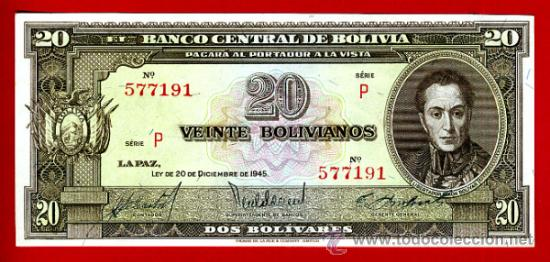 BILLETE 20 BOLIVIANOS , BOLIVIA , 1945 , PLANCHA , ORIGINAL ,T191 (Numismática - Notafilia - Billetes Extranjeros)