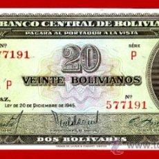 Billetes extranjeros: BILLETE 20 BOLIVIANOS , BOLIVIA , 1945 , PLANCHA , ORIGINAL ,T191. Lote 38037496