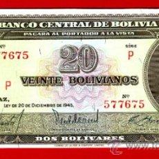 Billetes extranjeros: BILLETE 20 BOLIVIANOS , BOLIVIA , 1945 , PLANCHA , ORIGINAL ,T675. Lote 38037512