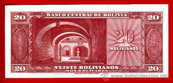 Billetes extranjeros: BILLETE 20 BOLIVIANOS , BOLIVIA , 1945 , PLANCHA , ORIGINAL ,T191 - Foto 2 - 38037496