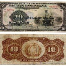 Billetes extranjeros: 10 BOLIVIANOS 1911, BOLIVIA BC. Lote 38111411