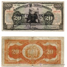 Billetes extranjeros: 20 BOLIVIANOS 1911, BOLIVIA BC. Lote 38111443