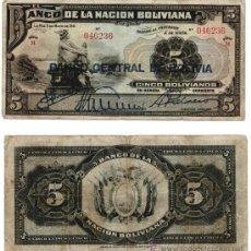 Billetes extranjeros: 5 BOLIVIANOS 1911, BOLIVIA BC. Lote 38112316