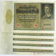 Billetes extranjeros: LOTE 5 REICHSBANKNOTE DE 10.000 MARKS SECUENCIALES (4+1)- ALEMANIA 1922. Lote 38131308