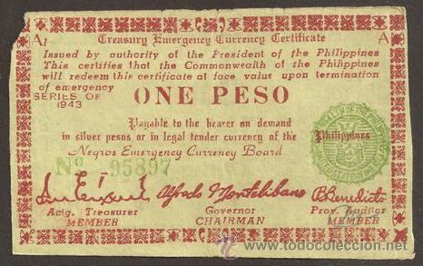 FILIPINAS (GUERILLA, II G.M.). 1 PESO 1943. (Numismática - Notafilia - Billetes Extranjeros)