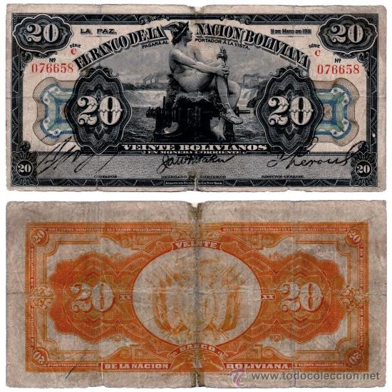 BILLETE BOLIVIA , 20 BOLIVIANOS 1911 , BC+ (Numismática - Notafilia - Billetes Extranjeros)