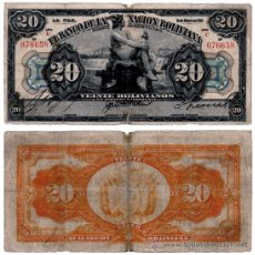 Billetes extranjeros: BILLETE BOLIVIA , 20 BOLIVIANOS 1911 , BC+. Lote 38484114