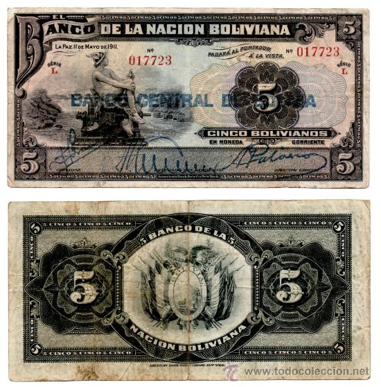 BILLETE BOLIVIA , 5 BOLIVIANOS 1911 , MBC (Numismática - Notafilia - Billetes Extranjeros)