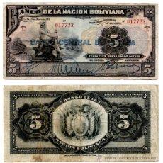 Billetes extranjeros: BILLETE BOLIVIA , 5 BOLIVIANOS 1911 , MBC. Lote 38494109
