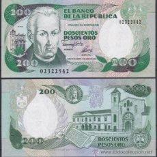Notas Internacionais: COLOMBIA 200 PESOS ORO 10.8. 1992 PICK 429A IMPRENTA SANTA FE DE BOGOTA SC UNC. Lote 222426867