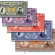 Billetes extranjeros: ISLAS JASON: LOTE 5 BILLETES SIN CIRCULAR 50 PENCE 1, 5, 10, 20 LIBRAS RARO. Lote 189207363