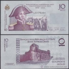 Billetes extranjeros: HAITI 10 GOURDES 2012 PICK 272E PREFIJO L SC UNC. Lote 195188903