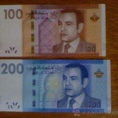 Billetes extranjeros: MARRUECOS. BILLETES DE 100 Y 200 DIRHAMS DE 2012 SIN CIRCULAR. (PICK 76 Y PICK 77). Lote 133554650