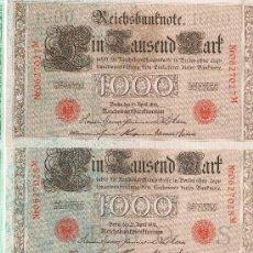 Billetes extranjeros: ALEMANIA 6 BILLETES CORRELATIVOS DE 1000 MARCOS 21 DE ABRIL 1910 SELLO ROJO EXCELENTES. Lote 39021689