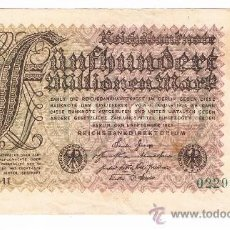 Billetes extranjeros: ALEMANIA QUINIENTOS MILLONES DE MARCOS SEPTIEMBRE DE 1923 UNA CARA EL DE LAS IMAGENES. Lote 39029466