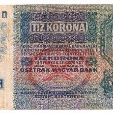 Billetes extranjeros: HUNGRIA 10 KORONA AÑO 1915 . Lote 39059371