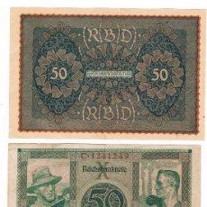 Billetes extranjeros: ALEMANIA 2 BILLETES DE 50 MARCOS AÑOS 1919 Y 1920 . Lote 39061453