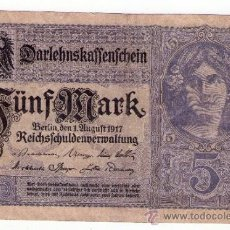 Billetes extranjeros: PRECIOSO BILLETE 5 MARK ALEMANIA 1917 PICK 56B MBC. Lote 95900756
