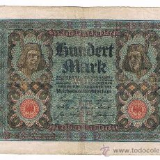 Billetes extranjeros: ALEMANIA 100 MARCOS AÑO 1920 DOS CARAS EL DE LAS IMAGENES. Lote 39075428