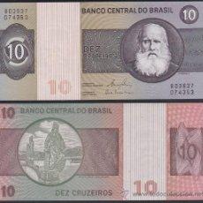 Billetes extranjeros: BRASIL BRAZIL 10 CRUZEIROS 1980 PICK 193E SC UNC. Lote 174178460