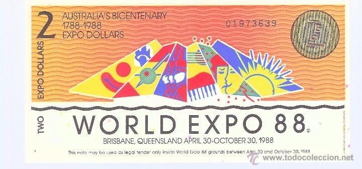 BILLETE DE 2 EXPO DOLLARS DE AUSTRALIA EN PERFECTO ESTADO (PLANCHA) (Numismática - Notafilia - Billetes Extranjeros)
