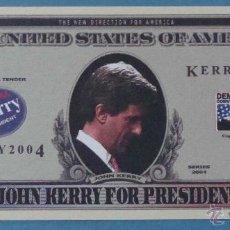 Billetes extranjeros: BILLETE EEUU CONMEMORATIVO. DÓLAR. JOHN KERRY. POLÍTICO ESTADOS UNIDOS. DÓLARES. PERFECTO. . Lote 155897525
