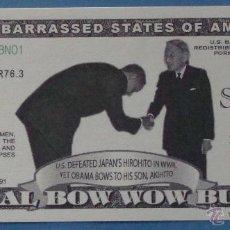 Billetes extranjeros: BILLETE EEUU CONMEMORATIVO. DÓLAR. BARACK OBAMA Y HIROHITO JAPÓN. DÓLARES. PERFECTO. . Lote 39335561