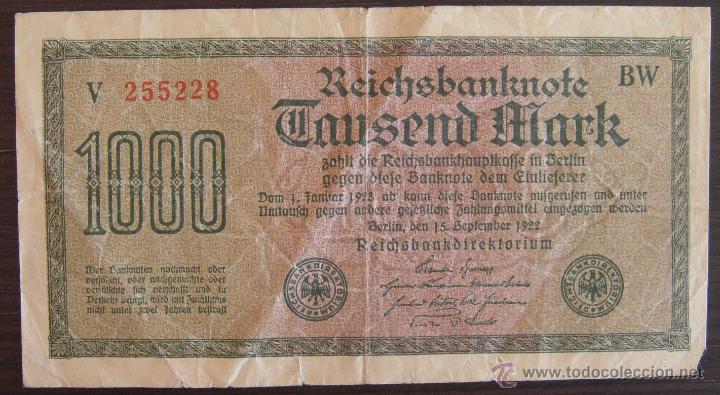 BILLETE DE ALEMANIA: 1000 MARCOS DE 1922 BERLIN RC (Numismática - Notafilia - Billetes Extranjeros)