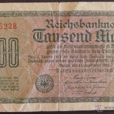 Billetes extranjeros: BILLETE DE ALEMANIA: 1000 MARCOS DE 1922 BERLIN RC. Lote 39388457