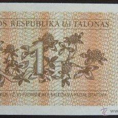 Billetes extranjeros: BILLETE DE LITUANIA: 1 LITA DE 1992 PLANCHA. Lote 39389292