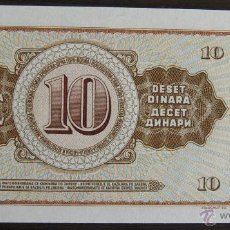 Billetes extranjeros: BILLETE DE YUGOSLAVIA: 10 DINARA DE 1968 PLANCHA. Lote 39390694