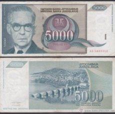 Banconote internazionali: YUGOSLAVIA 5000 DINARA 1992 PICK 115 BC F. Lote 243552570