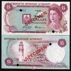 Billetes extranjeros: BERMUDA SPECIMEN ESPECIMEN 5 DOLLARS 1978 SC PLANCHA. Lote 39986931
