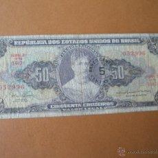 Billetes extranjeros: BILLETE DE BRASIL-50 CRUZEIROS-SIN SERIE 052996-NO DATADO-.. Lote 37082042