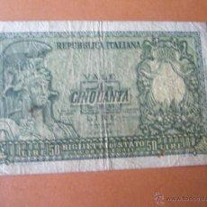 Billetes extranjeros: +++BILLETE DE ITALIA-50 LIRAS-CINQUANTA LIRE-1951-068802--.. Lote 37096964