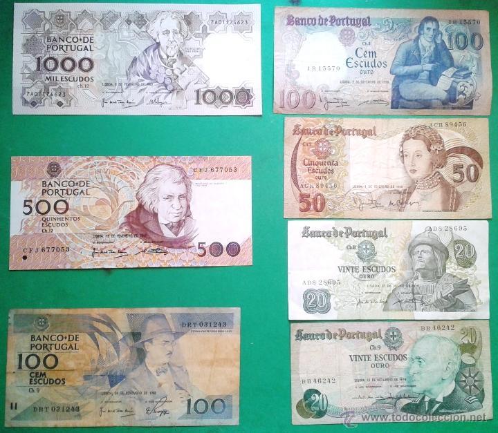 7 BILLETES DE PORTUGAL DE DISTINTOS VALORES Y DISTINTAS FECHAS (LOTE 28) (Numismática - Notafilia - Billetes Extranjeros)