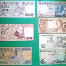 Billetes extranjeros: 7 BILLETES DE PORTUGAL DE DISTINTOS VALORES Y DISTINTAS FECHAS (LOTE 28). Lote 40073508