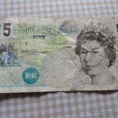 Billetes extranjeros: BILLETE INGLATERRA 5 LIBRAS FIVE POUNDS. Lote 40145728