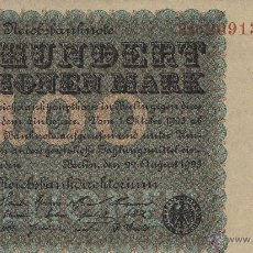 Billetes extranjeros: BILLETE 100 MILLONES MARCOS MARK ALEMANIA DEFLACCION 1923 REICHBANK BERLIN DEUTCHBANK. Lote 40429400